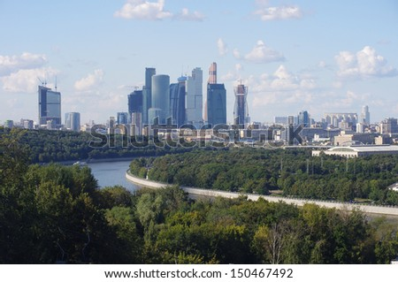 View to the Moscow-city business center in Moscow, Russia - stock photo