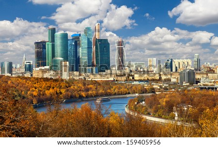 View to the Moscow-city business center in Moscow, Russia