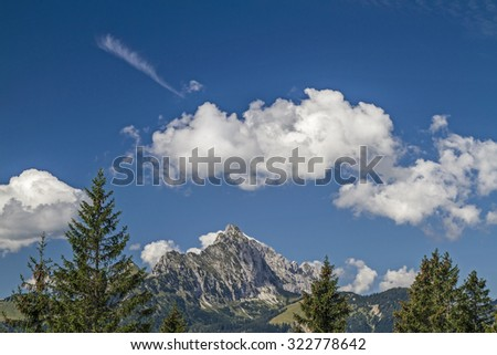 View to the mountain Gehrenspitze in the Tannheim mountains - stock photo
