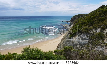 view to the ocean above some cliffs/Great Ocean Road, Victoria, Australia