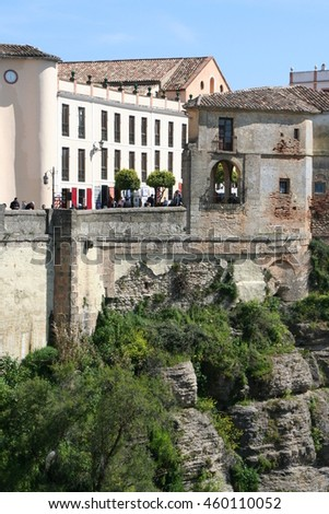 View to the old Moorish town of Ronda  from the Puente Nuevo, a stone bridge spanning the gorge.