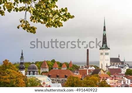 View to the old town of Tallinn, Estonia in autumn colors