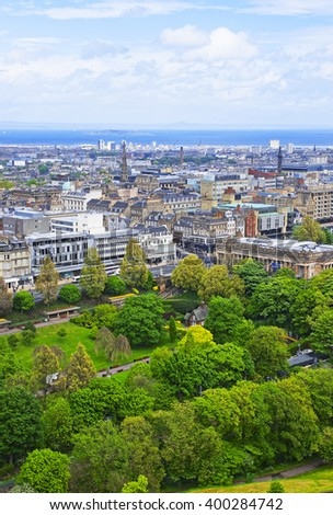 View to the Park and Old Houses of the Old Town of Edinburgh in Scotland. Edinburgh is the capital of Scotland in the United Kingdom.