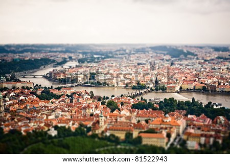 View to the Prague city centre from the Petrin Hill - stock photo