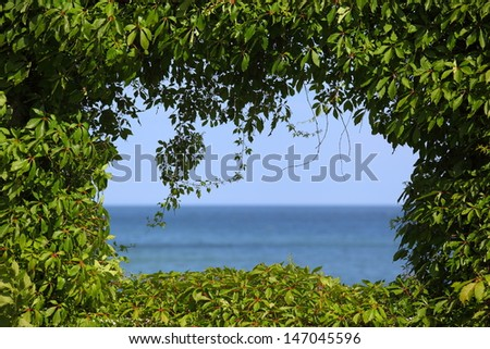 View to the sea covered by a hedge around/The Green Window - stock photo