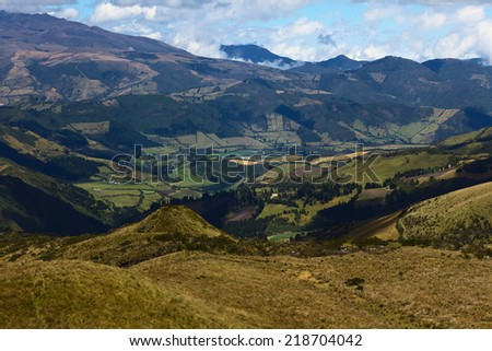 View to the South from the Cruz Loma lookout close to the TeleferiQo cable car station on the Pichincha mountain in Quito, Ecuador - stock photo