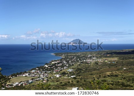 View to the southern part of Saint Kitts island and to Saba and Sint Eustatius islands from Brimstone Hill