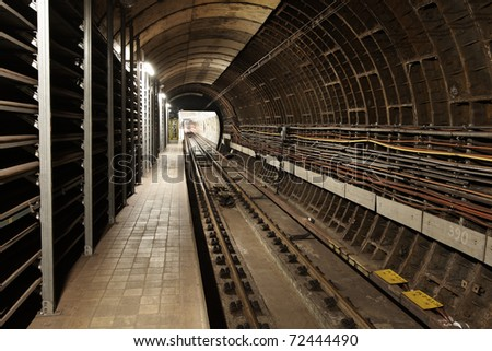 View to the subway tunnel, Prague. - stock photo