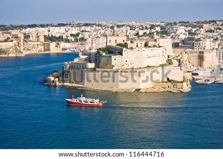 View to Vittoriosa Harbor from Valetta wall - stock photo