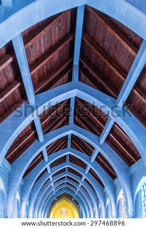 View toward the altar in the chapel of a Monastery - stock photo