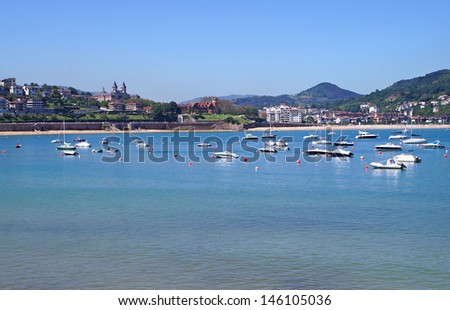 View toward the beautiful beach on the town of San Sebastian in the northern part of Spain - stock photo