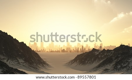 View towards a futuristic sci-fi city at sunset through a mountain pass covered by winter snow, 3d digitally rendered illustration - stock photo