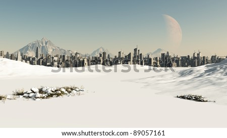 View towards a futuristic sci-fi city covered by winter snow, 3d digitally rendered illustration - stock photo