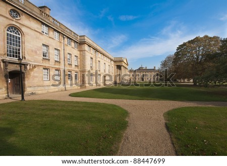View towards the Chapel and East Range of Downing College, Cambridge University in early autumn.