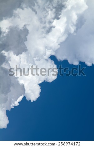 View white cloud with blue sky background - stock photo
