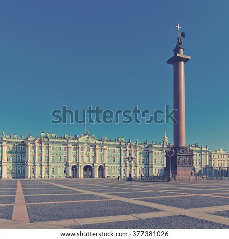 View Winter Palace in Saint Petersburg. Russia . Instagram style filtred image - stock photo