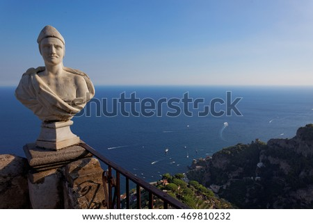 View with statue from the city of Ravello, Amalfi Coast, Italy, Europe
