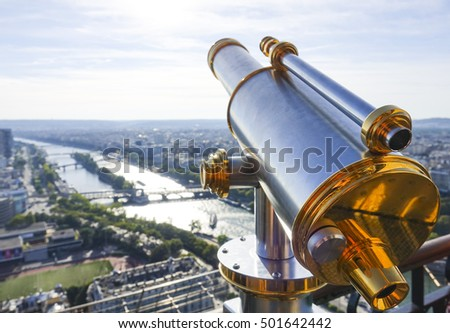 Viewing platform on Eiffel Tower - wonderful view over River Seine and the city of Paris