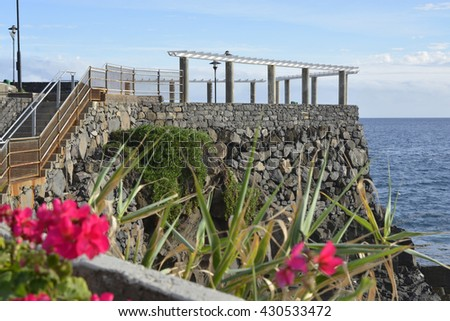 Viewpoint and promenade on clifftop at Lido near Funchal in Madeira, Portugal