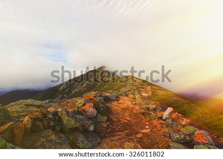 viewpoint at the top of the mountain in the woods of new hampshire - stock photo