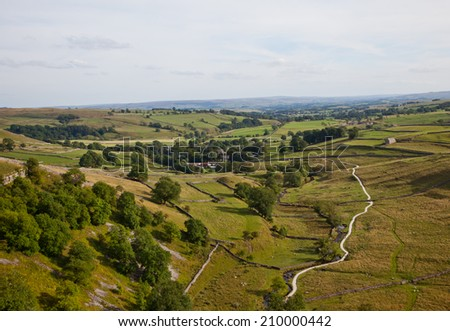 Viewpoint from Malham Cove in the Yorkshire Dales, England, UK - stock photo
