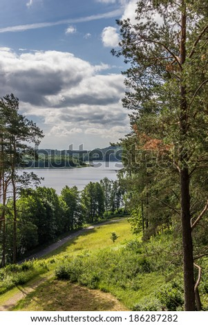 Viewpoint in Aukstaitija National Park in Lithuania - stock photo