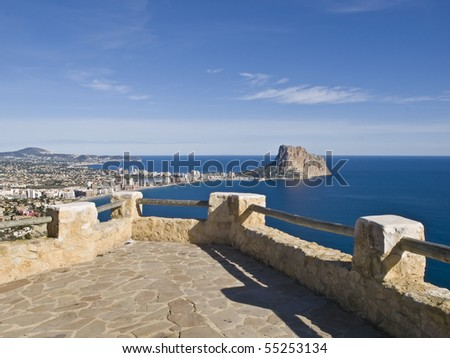 Viewpoint located at the top of a hill with fantastic views over the Mediterranean Sea on the Costa Blanca in Spain, with the famous Rock of Ifach highlighting in the coastline - stock photo