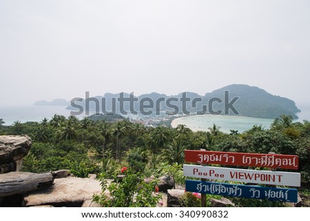 Viewpoint of Phi Phi Island, Thailand - stock photo