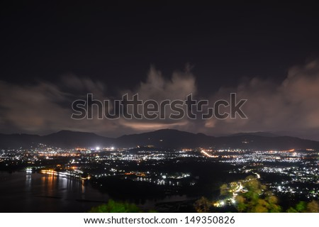 viewpoint on hill see to phuket town in night time, phuket Thailand