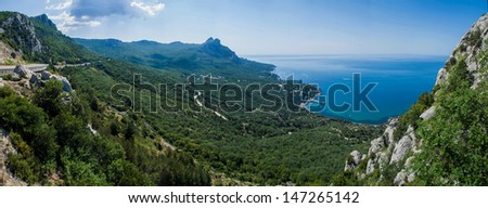 viewpoint on the hill in Krimea, Black Sea (panorama) - stock photo
