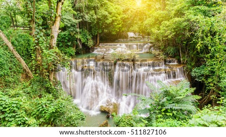 Viewpoint tier 4 at Huay Mae Khamin Waterfalls is located in Khuean Srinagarindra National Park , north of Kanchanaburi , The seven-tiered waterfalls, Thailand , adding light