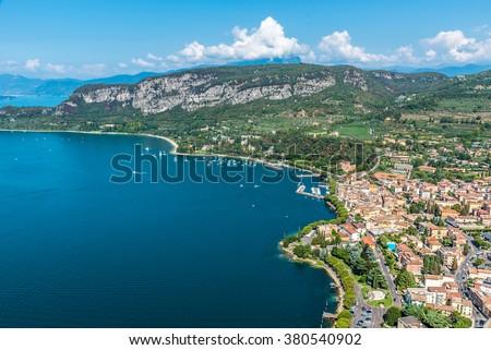 Viewpoint to the small town Garda of the Lake Garda in Italy - stock photo