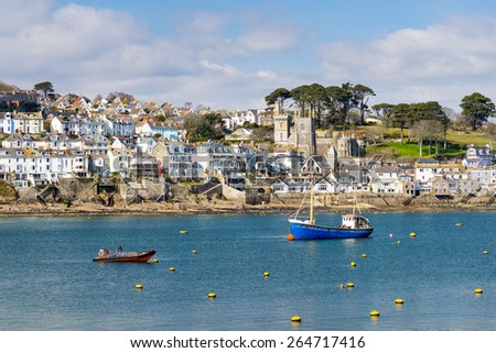 Views across the river to Fowey from Polruan Cornwall England UK Europe - stock photo
