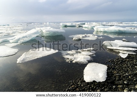 Views around a glacier lagoon Iceland, Northern Europe in winter with snow and ice