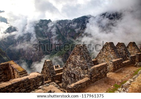 Views around Machu Picchu Inca ruins in the cioud forest Peru