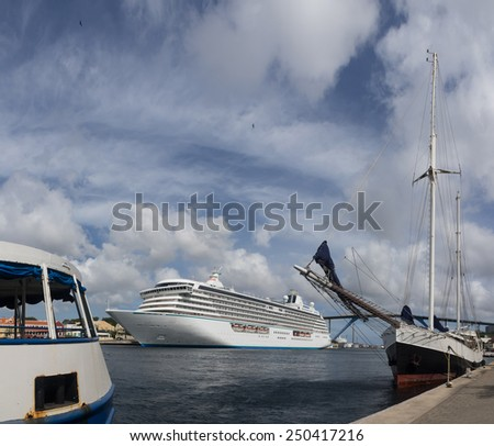 Views around Otrobanda and Punda - Willemstad Curacao   in the Dutch Antilles a Caribbean Island - stock photo