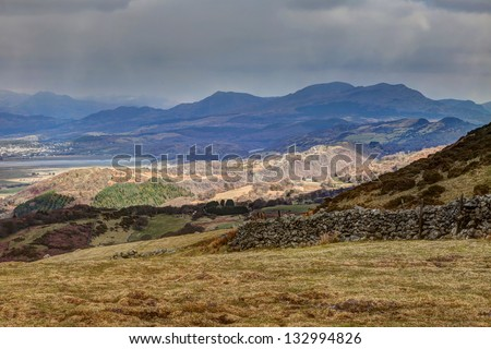 Views around Snowdonia National park and the Cnicht Mountain North Wales UK