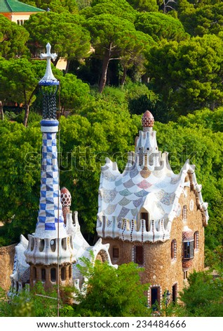 Views from the Parc Guell designed by Antoni Gaudi, Barcelona, Spain - stock photo