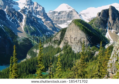 Views of Big Beehive and mirror lake from Little Beehive, Banff National Park, Alberta, Canada - stock photo