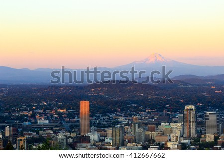 Views of downtown and East Side Portland at sunset at the Pittock Mansion in Portland, Oregon - stock photo
