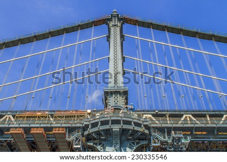 Views of New York City, USA. Manhattan Bridge. - stock photo