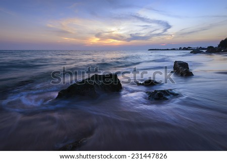 Views of the beach at sunset. With beautiful light - stock photo