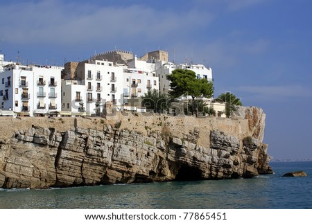 Views of the City Lighthouse and Castle of Papa Luna - Peniscola (Castellon) Costa Azahar-Spain-Maestrat Baix - stock photo
