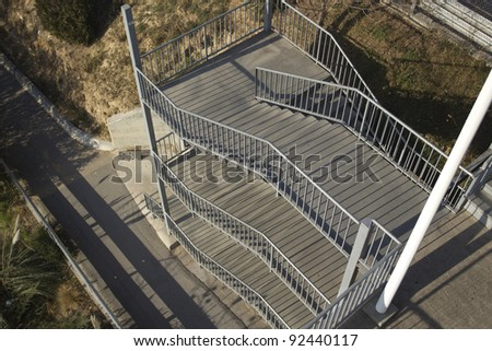 Views of the emergency exit stairs of a circuit