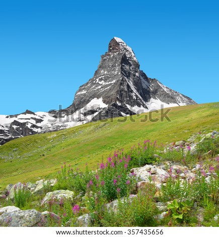 Views of the mountain Matterhorn in Pennine Alps, Switzerland - stock photo