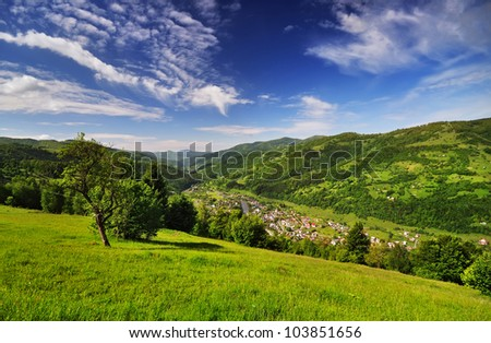 views of the mountains in the Carpathian reserve - stock photo