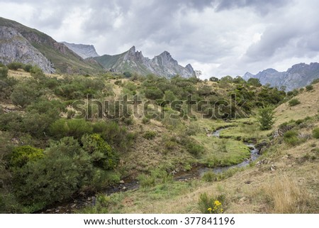 Views of the river Rio del Lago, in Somiedo Nature Reserve. It is located in the central area of the Cantabrian Mountains in the Principality of Asturias in northern Spain - stock photo