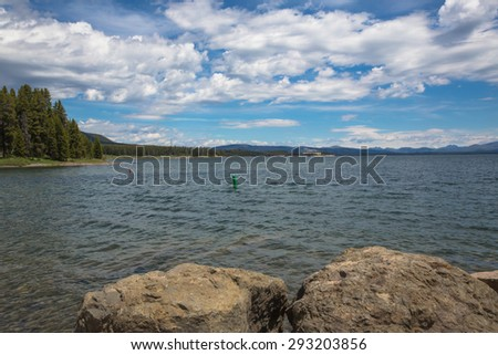 Views of Yellowstone Lake from Gull Point looking towards Lake Village, Yellowstone National Park, Wyoming, USA