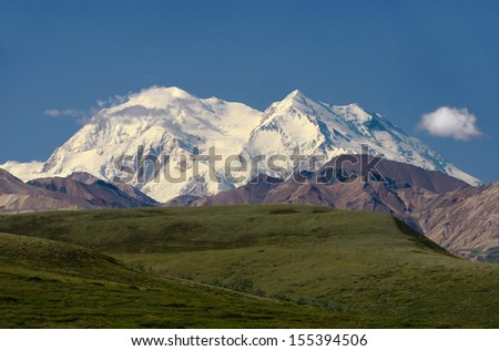 Views to Mount Mckinley, Denali National Park, Alaska - stock photo
