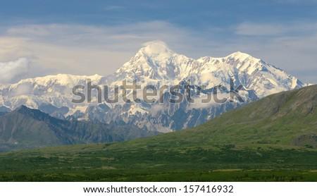 Views to Mount McKinley in Summer, Alaska Range in Denali - stock photo